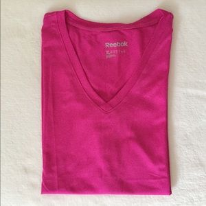 REEBOK Playdry Hot Pink V-Neck Active T-Shirt - XL